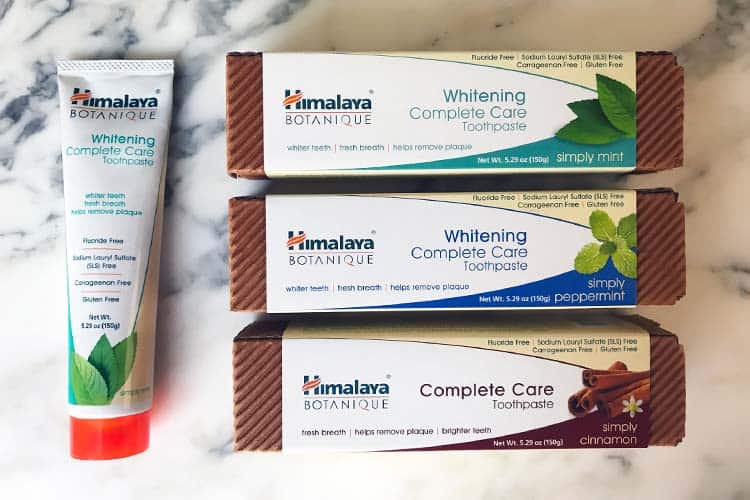 Himalaya herbal toothpaste with no fluoride or SLS