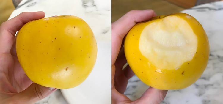 outside and inside of a yellow apple