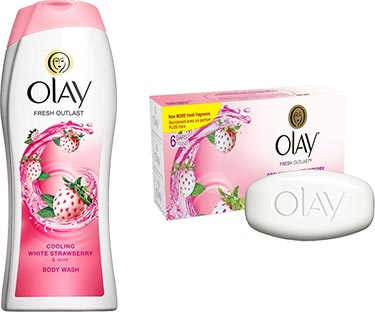 Olay white strawberry scented body wash and soap