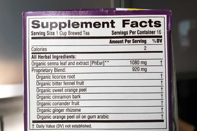 Smooth Move tea ingredients and nutrition facts