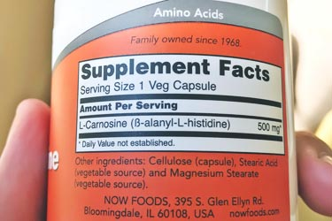 supplement facts label showing stearic acid content