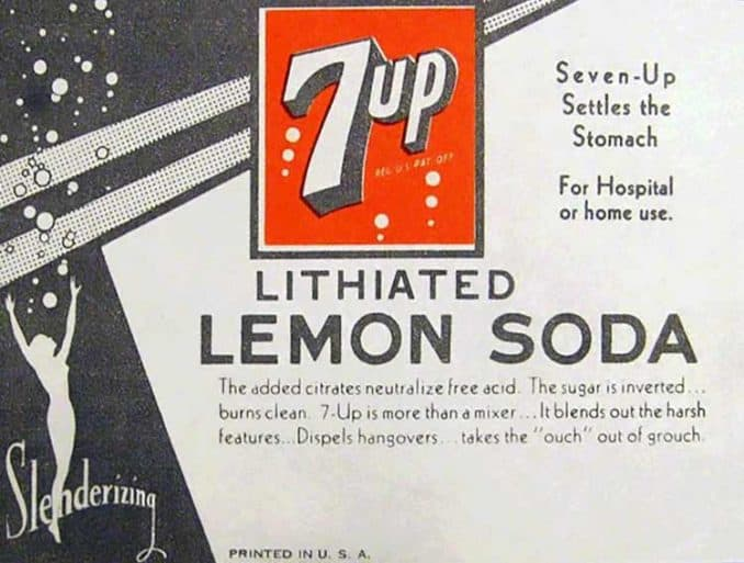 antique 7 Up advertisement for lithiated soda