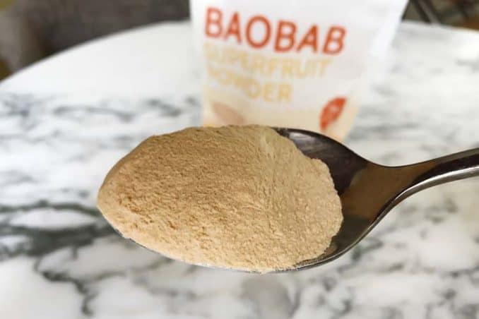 spoon of baobab powder