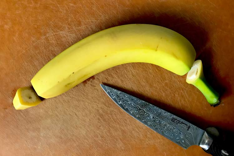 fresh banana with ends cut off