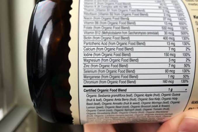 vitamin supplement facts label showing iodine in it