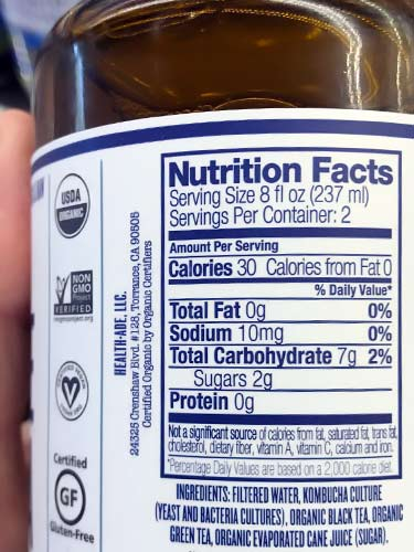Health-Ade Kombucha nutrition facts label