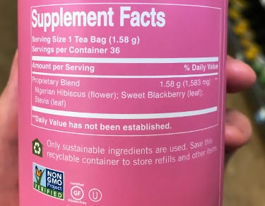 hibiscus tea nutrition facts label