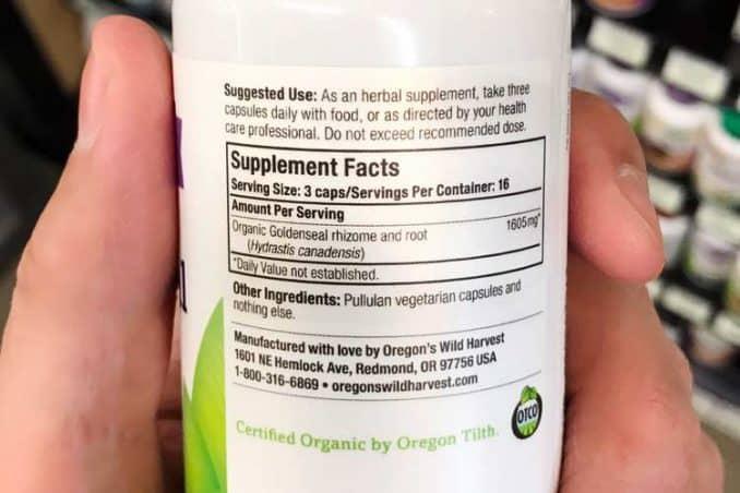 Oregon Wild Harvest goldenseal supplement dosage instructions and label