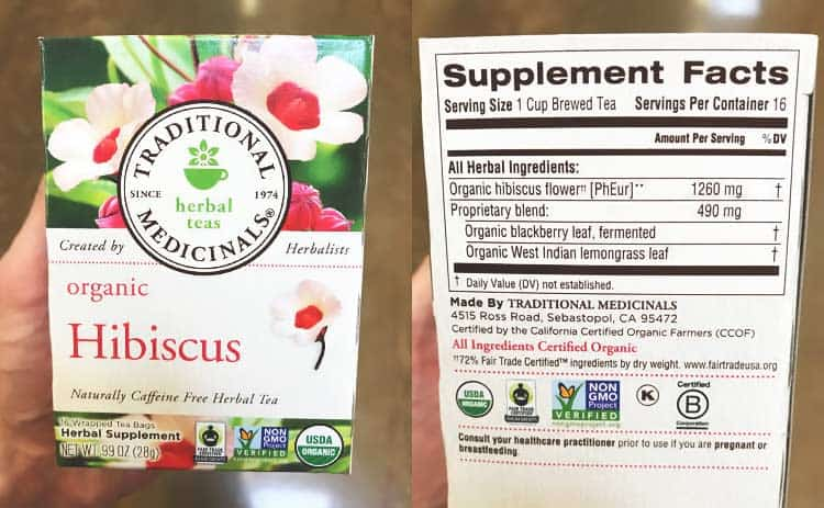 Traditional Medicinals organic hibiscus tea box and supplement facts