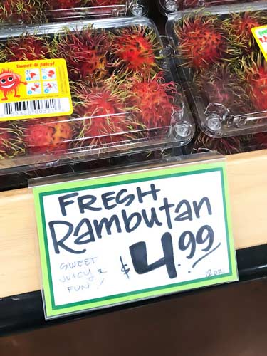 fresh rambutan for sale at Trader Joe's