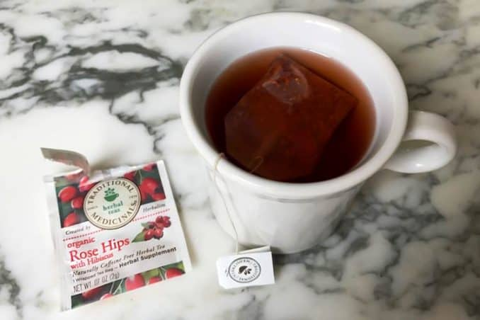 cup of Traditional Medicinals organic rosehips with hibiscus tea