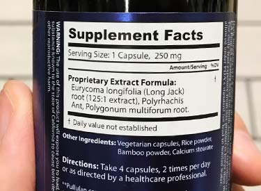 supplement facts label for Dragon Herbs Tom Kat potent jing tonic