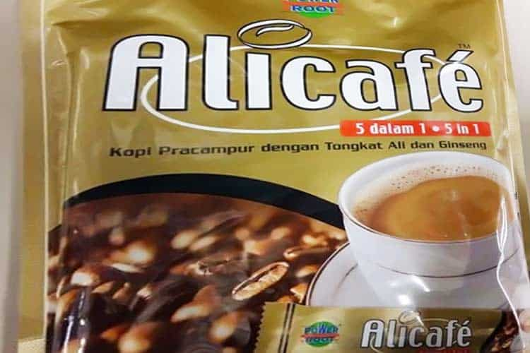 Alicafe coffee mixed with tongkat ali and ginseng