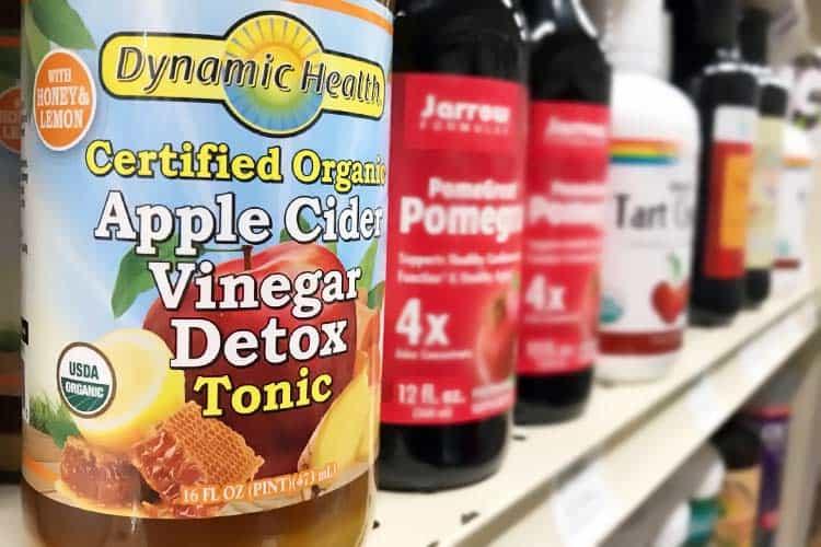 organic ACV detox drink with honey and lemon