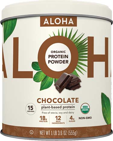 Aloha protein powder, chocolate flavor