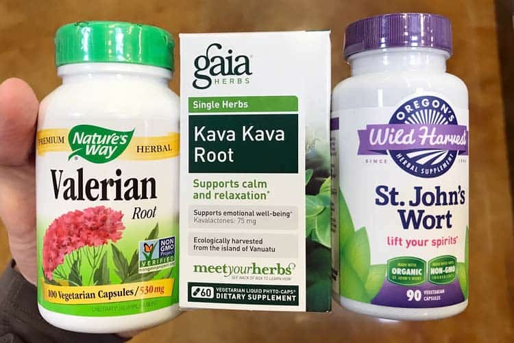 bottles of valerian, kava kava root, and St. John's wort that are bad for general anesthesia