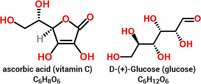 chemical structures and molecular formulas for vitamin C and glucose