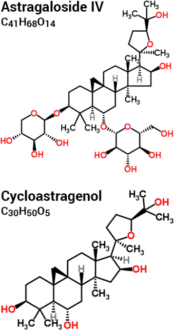 chemical molecular formulas and structures of astragaloside IV vs. cycloastragenol