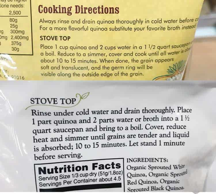 directions for how to rinse and cook white and sprouted quinoa