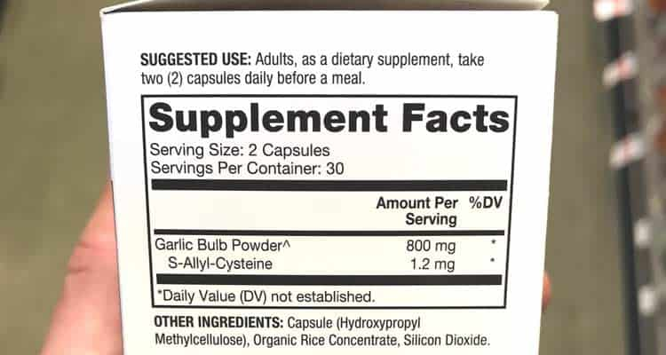 aged black garlic extract supplement facts label