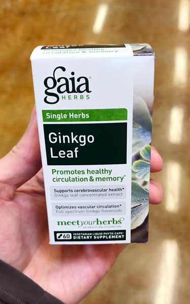 bottle of ginkgo biloba leaf capsules