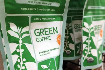 organic green coffee bean powder