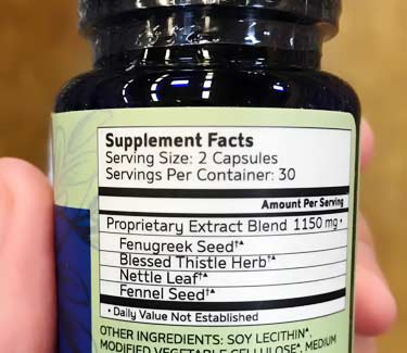 Motherlove supplement facts label