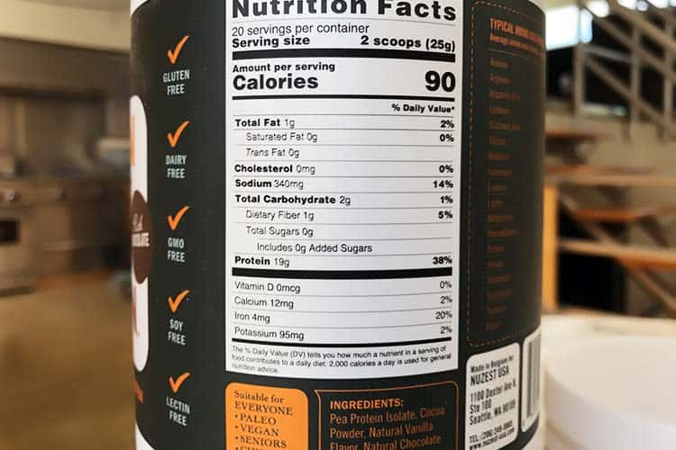 Nuzest nutrition facts and ingredients label