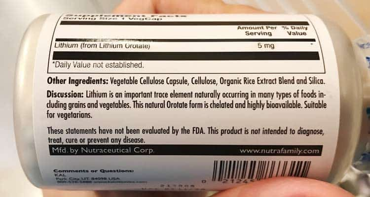 ingredients label for lithium supplement