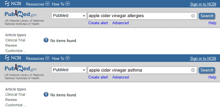 PubMed search results for allergy studies about cider vinegar