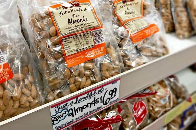 Trader Joe's raw almonds individually packaged