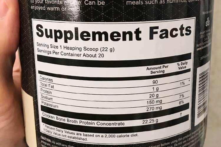 bone broth nutrition facts label