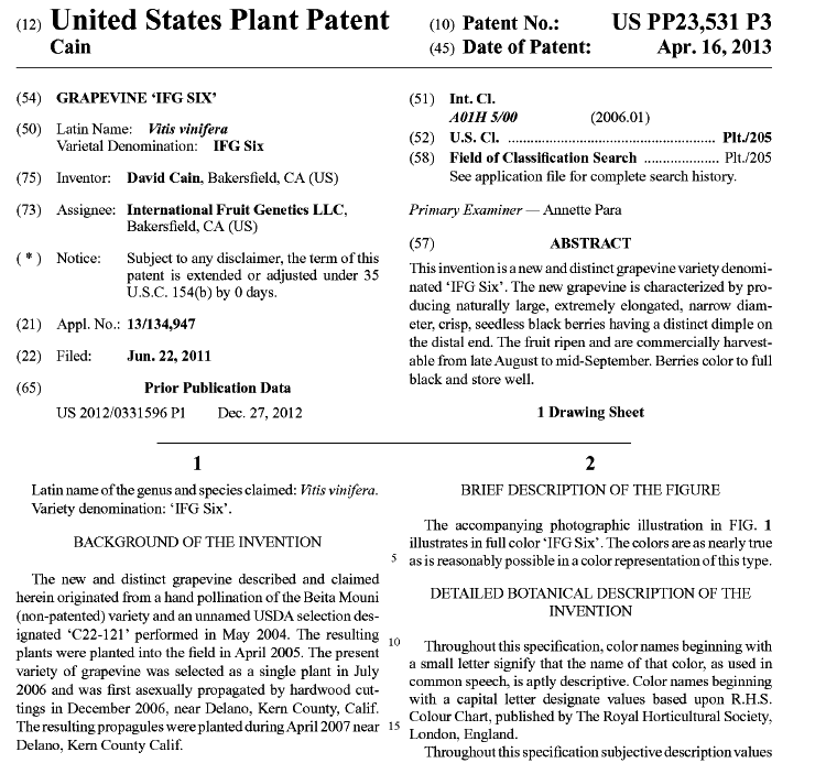 Moon Drop grape USPTO patent filing
