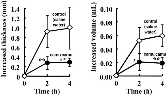 anti-inflammatory effects of camu camu treatment on paw edema