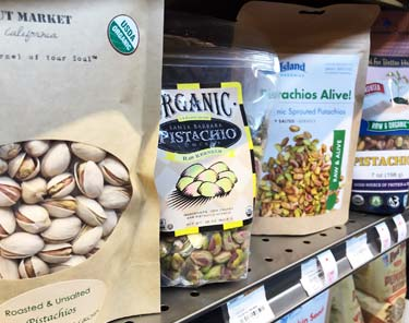 different brands of pistachios at store