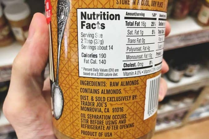 nutrition facts label for crunchy raw almond butter from Trader Joe's