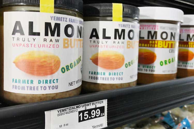 unpasteurized almond butter for sale at store