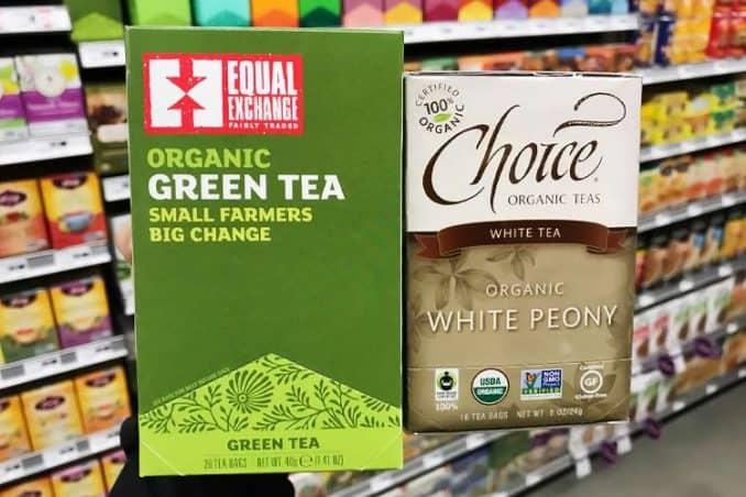 boxes of white tea vs. green tea