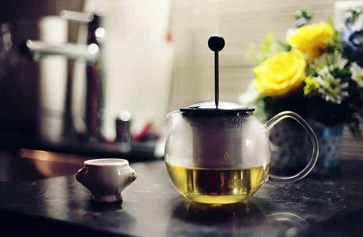 freshly brewed yarrow flower tea