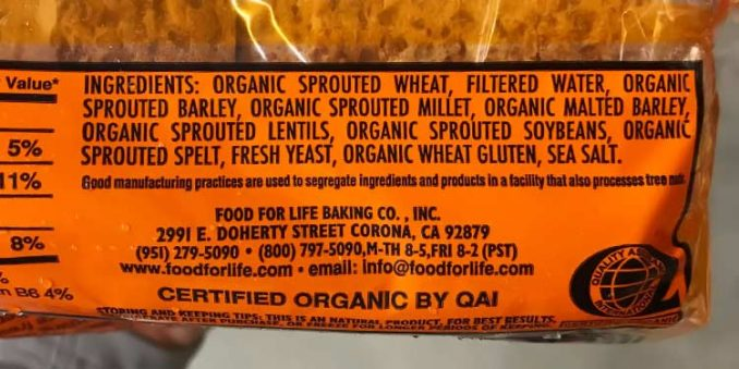 ingredients label for Ezekiel bread, original recipe