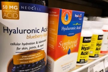 hyaluronic acid supplements on store shelf