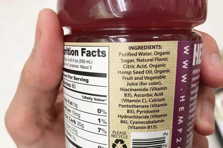 etiqueta de ingredientes de cáñamo