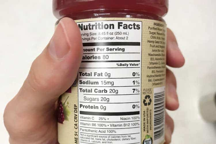 hemp2o nutrition facts