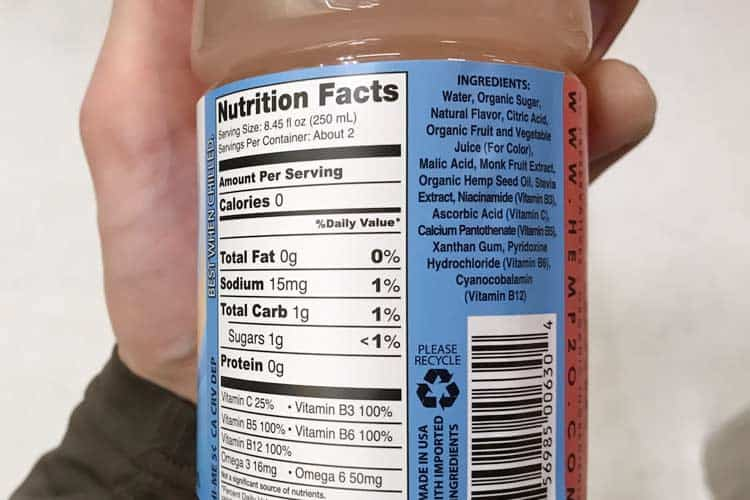 nutrition facts label on hemp2o zero bottle of water