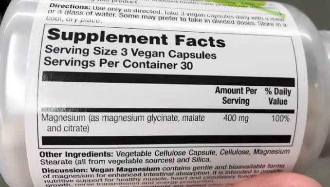 magnesium supplement facts label