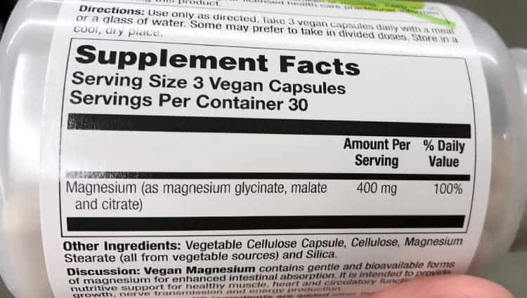 magnesium supplement facts label