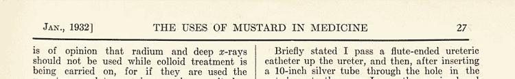 Usos de la mostaza en medicina desde 1932