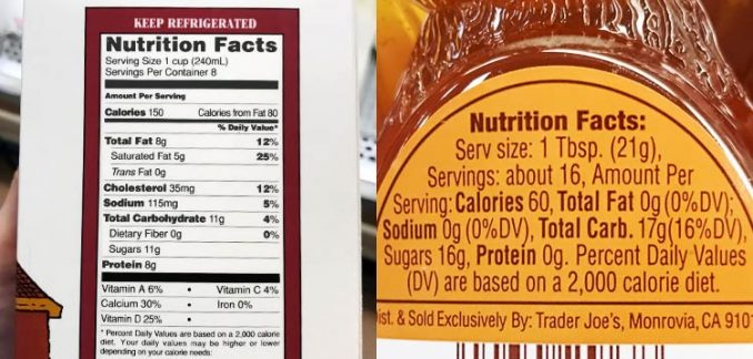 nutrition facts label for floral and clover honey and organic milk from Trader Joe's