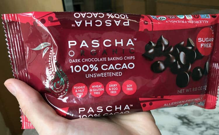 Pascha unsweetened chocolate chips made with 100% cocoa