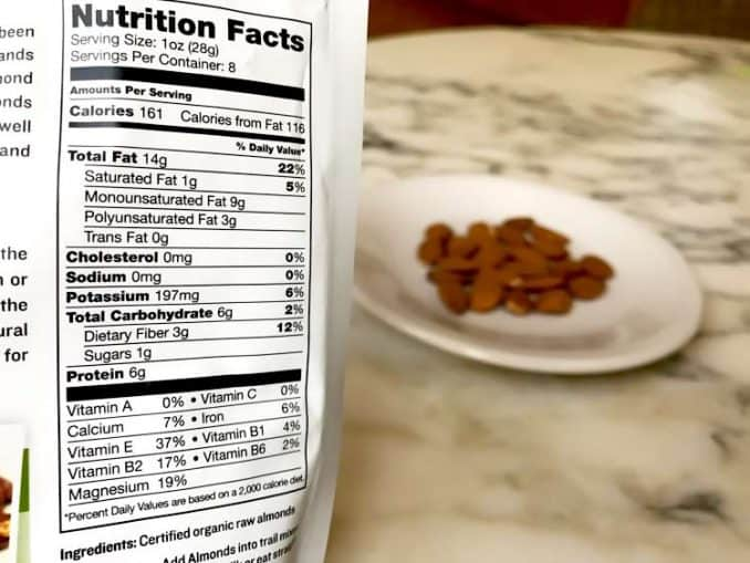 raw almond nutrition facts label